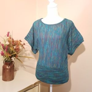 Absolutely Famous Wing Sleeve Teal Knit T Shirt LG